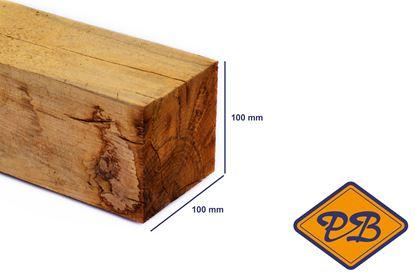 Afbeeldingen van eiken paal vers-fijnbezaagd 100x100mm