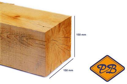 Afbeeldingen van eiken paal vers-fijnbezaagd 150x150mm