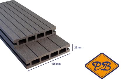 Afbeeldingen van Greenplank hkc terrasdeel met enkelzijdig profiel classic grey 25x135mm