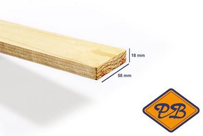 Afbeeldingen van vurenhout kl.c. geschaafd rechte hoek fsc mix 70% 18x58mm