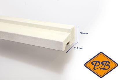 Afbeeldingen van hardhout kozijnprofiel gevingerlast/gegrond onderdorpel model C 66x110mm