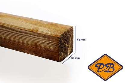 Afbeeldingen van grenen paal ME geschaafd ronde hoek verduurzaamd 68x68mm