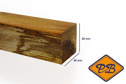 Afbeeldingen van grenen paal ME geschaafd ronde hoek verduurzaamd 88x88mm