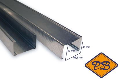 Afbeeldingen van metalstud staander C50N wandprofiel 43x48,8x45mm