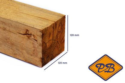 Afbeeldingen van eiken paal vers-fijnbezaagd 120x120mm