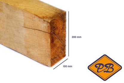 Afbeeldingen van eiken balk vers-fijnbezaagd 100x200mm